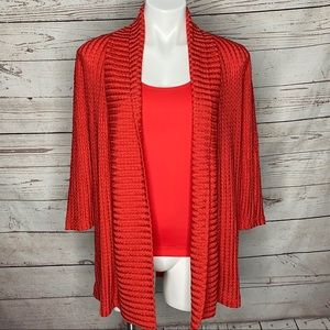 Travelers By Chicos Red Twinset Cardigan Tank Set